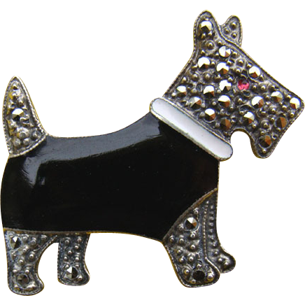 Art Deco Sterling Enamel Marcasite SCOTTY Dog Pin