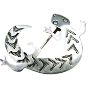 Signed Navajo Sterling Salamander Lizard Brooch