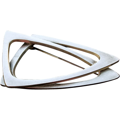 Poul Warmind DENMARK Modernist Sterling Intersecting Triangles Pin
