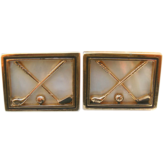 1960's Goldtone Mother of Pearl GOLF Club Cufflinks Golfer