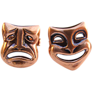Mid Century Copper Comedy & Tragedy MASK Cufflinks Actors