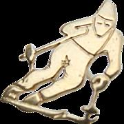 RARE 18K Gold Downhill Ski Racer Lapel Pin Tie Tack