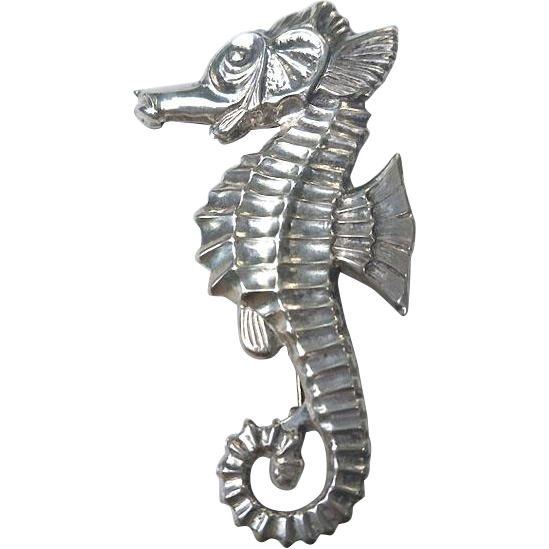 CUTE Art Deco Sterling SEAHORSE Pin Brooch