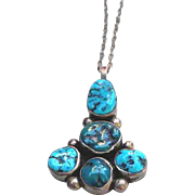Native American Silver Turquoise Pendant Necklace by Mike Chee NAVAJO