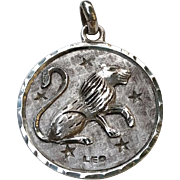 Large Vintage PLAFINA Mexico Sterling LEO Zodiac Charm Medallion