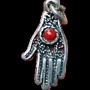 Petite Silver Filigree Coral HAMSA Hand Pendant Charm