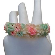 C.1940 Molded Celluloid Bangle Bracelet Faux Carved Ivory Tinted Flowers