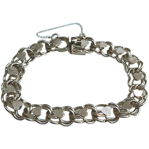 Vintage sterling silver double link heart charm bracelet from