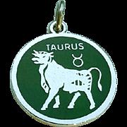 Vintage Sterling Enamel TAURUS Zodiac Charm Pendant