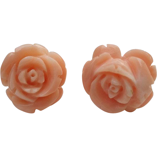 14K Gold Carved Coral FLOWER Pierced Earrings 15mm