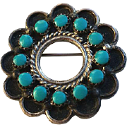 Vintage Native American Silver and Turquoise Snake Eye Pin Pendant