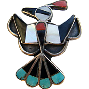 Vintage Zuni Sterling Thunderbird Bird Inlaid Stone Pin