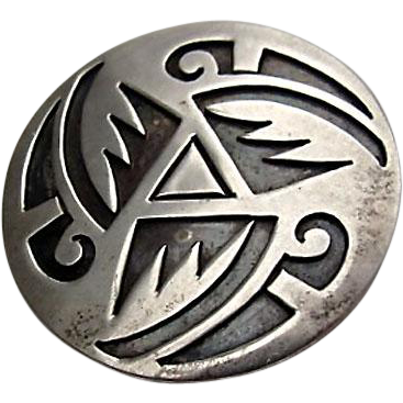 Navajo Native American Silver Overlay Pin by Willie Yazzie