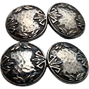 Antique Arts & Crafts HAMMERED Sterling Double Face Cufflinks EIF Co