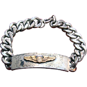 WWII Army Air Corps PILOT Wings Silver ID Bracelet