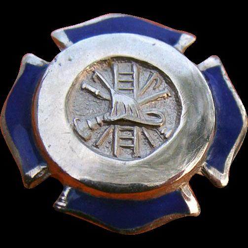 Sterling Enamel Firefighter Fireman Breast Badge Tie Tack Lapel Pin