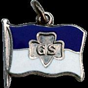 RARE Sterling Enamel Girl Scout TREFOIL Flag Charm