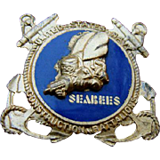 WWII Sterling Enamel US Navy SEABEES Construction Battalions Badge Pin
