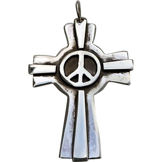 SUPER Cool Sterling Artisan Cross with PEACE Sign Pendant