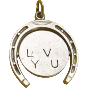 Sterling Silver I LOVE YOU Spinner Charm with Lucky Horseshoe