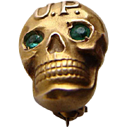 OLD 10K Gold UP Upsilon Rho SKULL Fraternity Pin Badge Green Eyes
