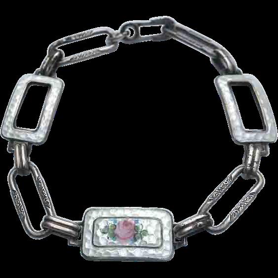 Edwardian STERLING Guilloche Enamel Open Link Bracelet
