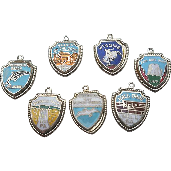 Vintage FORT Sterling Enamel Shield Travel Charm LOT of 7