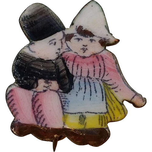 Art Deco CZECH Multi-Color Enamel 2 Children Pin