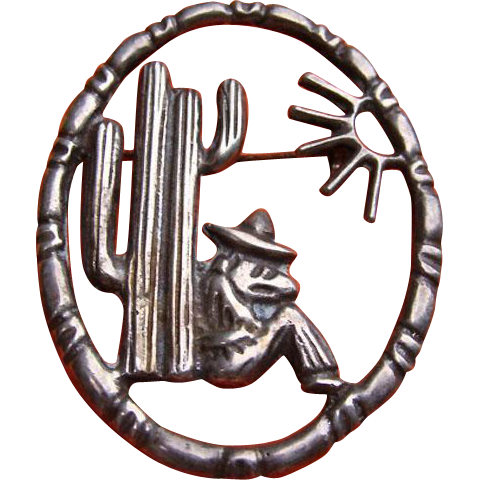 Cool 1940 MEXICO Silver Man Taking a Siesta Cactus Sun Pin Brooch