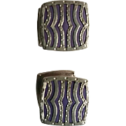Art Deco Baer & Wilde Striped Lavender Celluloid SNAP Cufflinks