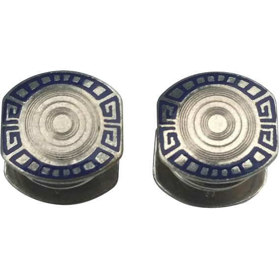 Art Deco Baer & Wilde Cobalt Blue ENAMEL SNAP Cufflinks