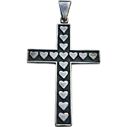 Large Sterling HEARTS Cross Religious Sweetheart Pendant