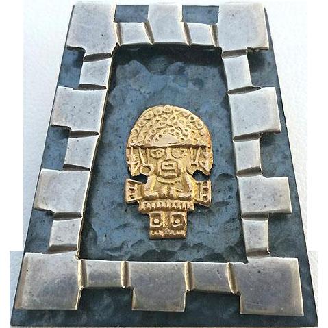 Mid Century Sterling TUMI in Pyramid Pin Pendant
