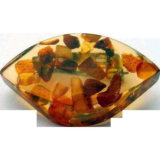 CHUNKY Polished Honey Amber Pin Brooch