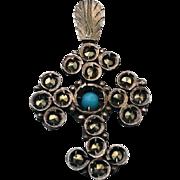 Edwardian Silver Persian Turquoise Marcasite Cross Religious Pendant