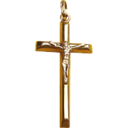 Vintage 18K Gold Crucifix Cross Pendant
