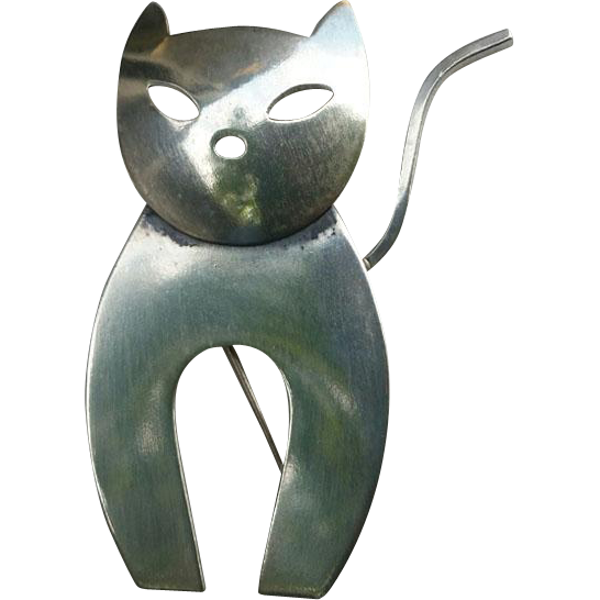 Mid Century Modernist Silver CAT with Attitude Pin