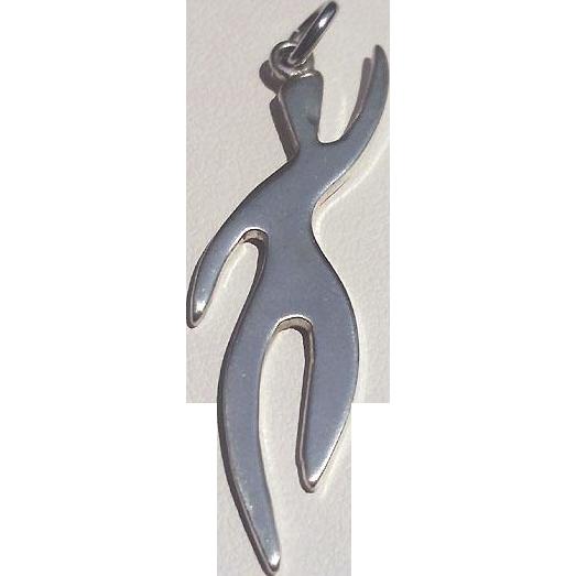 ORB Mid Century MODERN Silver Dancer Pendant charm