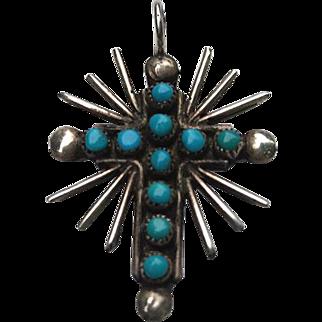 Vintage Native American Turquoise Silver Snake Eye Cross