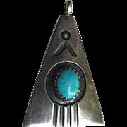 Native American NAVAJO Silver Turquoise Pendant Mary Joe
