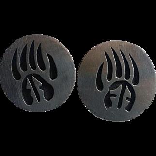 Vintage HOPI Silver Overlay BEAR Paw Earrings Pierced