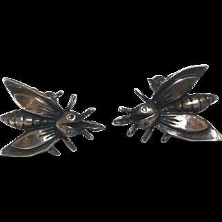 Art Deco Sterling Flying Bug Bee Earrings