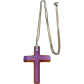 Edwardian Banded Agate Stone CROSS Pendant Necklace