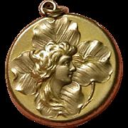 ANTIQUE Art Nouveau Repoussee Woman Gold Filled Locket W&H