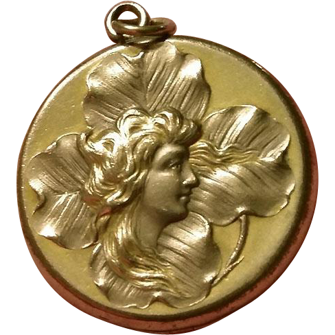 ANTIQUE Art Nouveau Repoussee Woman Gold Filled Locket W&H