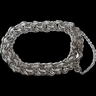 Unusual Sterling Silver DOUBLE Link Charm Bracelet