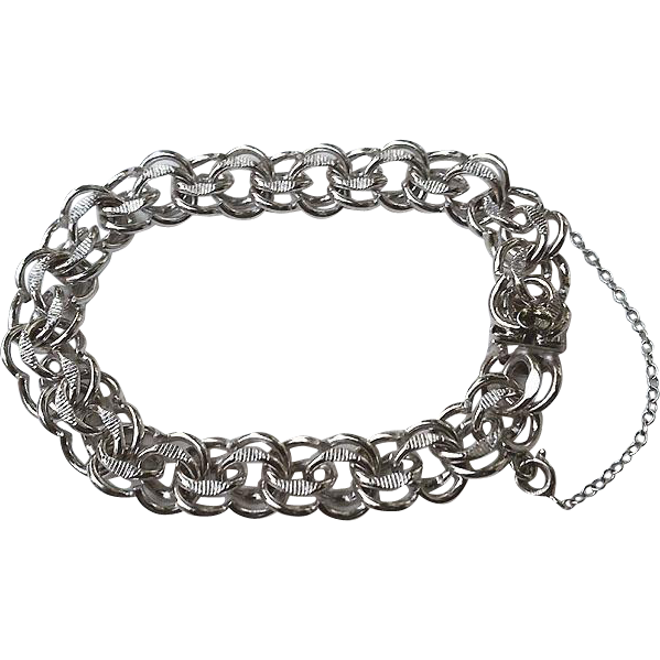 Unusual Sterling Silver DOUBLE Link Charm Bracelet