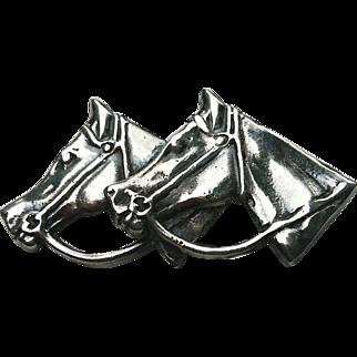 HEFTY Sterling Silver Double Horse Head Pin