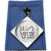 Sterling LOVE Charm 1960 Iconic Robert Indiana POP-ART
