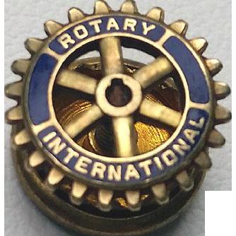 Vintage 10K Gold Enamel Rotary International Lapel Pin